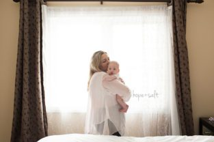 oakville lifestyle newborn photographer - in home session for two month old baby girl sofia big sibling sister and family